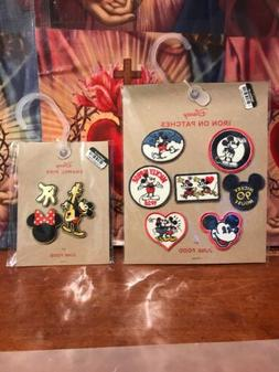 1 Disney Mickey Mouse 7 Iron On Patches And 3 Enamel Pins- B