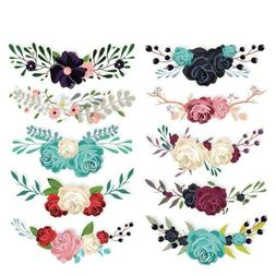 10pc Flowers Iron on Heat Transfer Patches for Kids Clothing
