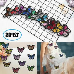 12 Pcs DIY Butterfly Iron on Patches Embroidery Applique Pat