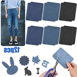 12X Jeans Patches Iron On Elbow Knee Denim DIY Sewing Appliq