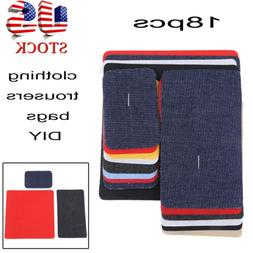 18pcs multiple color Twill Iron On Mending Patches, No Sew,