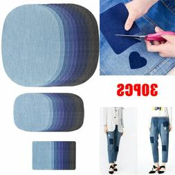 20 pcs 5 Color DIY Iron on Denim Fabric Patches for Clothing