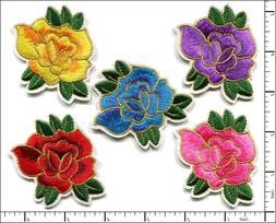 20 Pcs Embroidered Iron on patches 5 Color Mixed Rose Flower