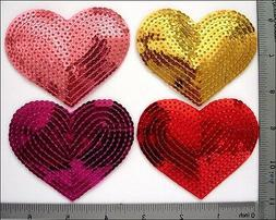 20 Pcs Sequin Sew/Iron on patches 4 color Mixed Love Heart 3