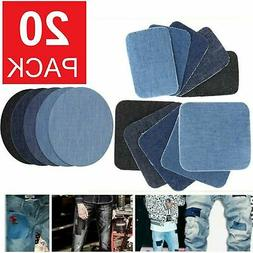 20pcs DIY Design Iron on Denim Fabric Patches Clothing Jeans