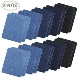 COCESA 20pcs Iron on Denim Fabric Patches for Clothing Jeans