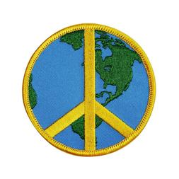 3 Inch Global Peace Sign Iron-On Patch Planet Earth Hippie A