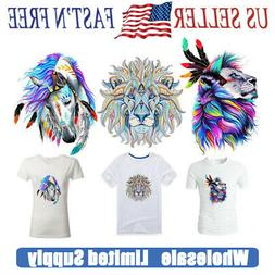 3 PCS Watercolor Folk-Custom Style Lion Patches Heat Transfe