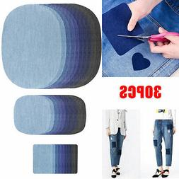 30pcs DIY Iron on Denim Fabric Patches Clothing Jeans Repair