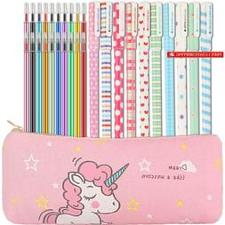 31 Pieces Gel Ink Pens Pencil Case Set Unicorn School Suppli