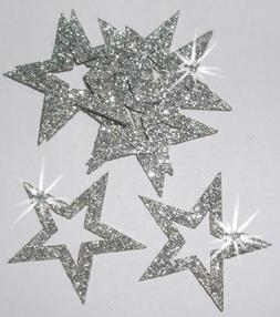 CrystalsRus 36 Silver Fabric Glitter 35mm Star Outline Iron-