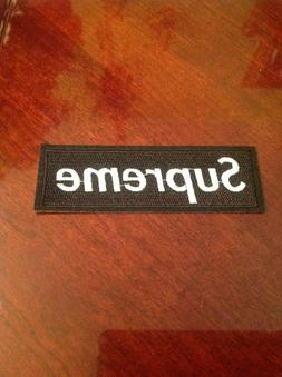 """4.5"""" SUPREME IRON ON PATCH BLACK COLOR Embroidered FREE SHIP"""