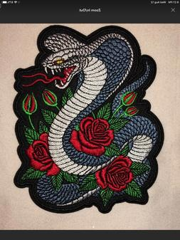 """4.75"""" COBRA SNAKE WITH ROSES EMBROIDERED IRON ON BIKER PUN"""