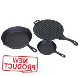 4 Piece Cast Iron Set W/ Removable Griddle Handle Outdoor Co