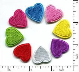 40 Pcs Embroidered Iron on Mini patches 8 color Love Heart 0