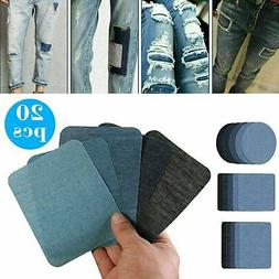 5 Colors DIY Iron on Denim Fabric Patches for Clothing Jeans