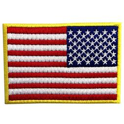 EmbTao American Flag Embroidered Patch Gold Border USA Unite