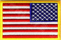 AMERICAN FLAG EMBROIDERED PATCH iron-on GOLD BORDER USA US U