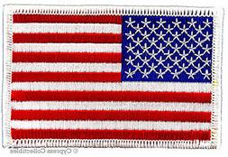 American Flag Embroidered Patch White Border United States I