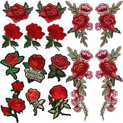 Arisingdeals 15 Pieces Iron On Rose Patch Embroidered Flower