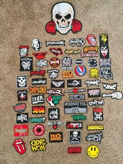 Assorted Sew Iron on Embroidered Punk/Metal/Rock Patches Fre
