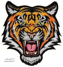 BENGAL TIGER iron-on PATCH embroidered ROARING WILD ANIMAL S