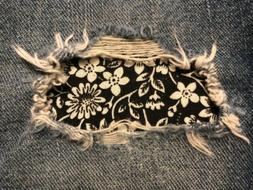 Black Floral Peek a Boo Iron On Holey patches