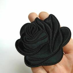 Black Rose Iron On Patch : Embroidered Badge : Goth Punk Emb
