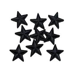 Yalulu 20Pcs Black Star Embroidered Iron On/Sew On Badge App