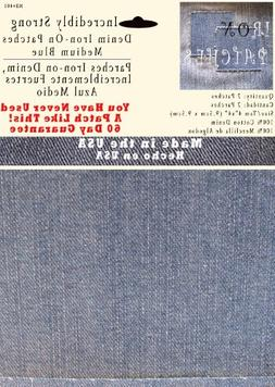 """2 Pack Medium Blue 4""""x4"""" Iron on Patches - Strongest Iron on"""