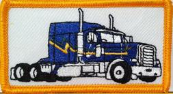 BLUE TRUCK  Color Iron-On Patch Truck Driver  Emblem Gold Bo