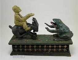 CAST IRON MECHANICAL BANK MAN ON GOAT FEEDS FROG COINS  - SH