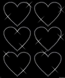 Clear 6x 75mm Outline Heart iron on Rhinestone Transfer crys