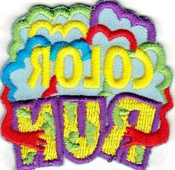 """""""COLOR RUN"""" - Iron On Embroidered Patch - Sports, Words, Run"""