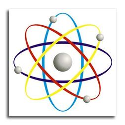 3dRose Colorful Atom Symbol, Iron On Heat Transfer, 10 by 10