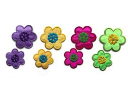 Colorful Flowers with Embroidered Details Iron-On Patch
