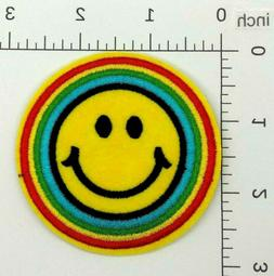 Colour Smiley Patch — Iron On Badge Embroidered Motif —