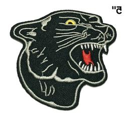 Cool Black PANTHER Face Embroidered Iron On / Sew On Patches