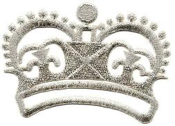 CROWN SILVER METALLIC Iron On Patch Crowns