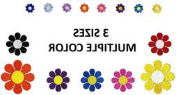 Daisy Embroidered Iron On Patch - VARIETY COLORS SIZES - Hip