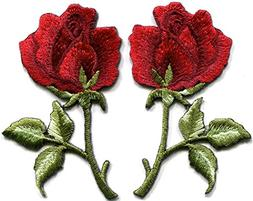 Deep red roses pair flowers floral retro boho love hippie ap