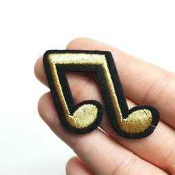 Double Musical Beam Note Patch, Iron-On/Sew-On Embroidered M