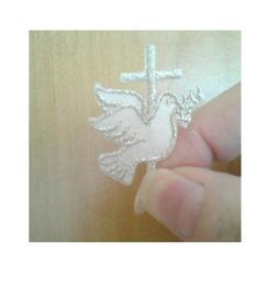 Dove W/Cross - Holy Spirit - Silver/White - Embroidered Iron