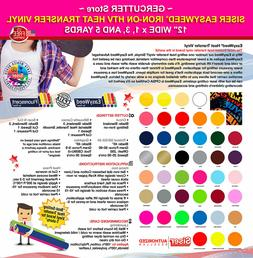 "Siser easyweed iron-on htv heat transfer vinyl 12"" wide x 1,"