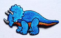 Embroidered Iron-On Applique TRICERATROPS Dinosaur, 3 x 1+1/