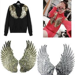 Embroidered iron on patches clothes Wings design sequins DIY