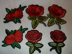 EMBROIDERED IRON ON RED ROSE ROSES STEM PATCHES FLOWER FLORA