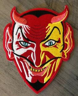 """Embroidered Red Devil Patch 4.5"""" Sew or Iron On Demon Kram"""