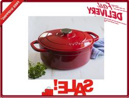 Lodge Enameled Cast IRON 5.5 Quart Dutch Oven Red Stovetop S