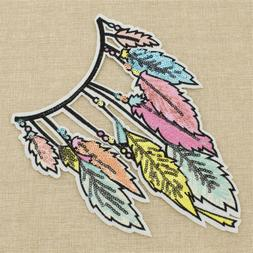Feather Leaves Embroidery Patch Applique Iron-On Sewing Craf